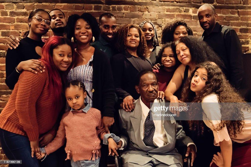 Multi-generation diversity family portrait : Stock Photo