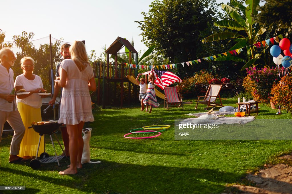 Multi-generation Family Celebrating 4th of July : Stock Photo