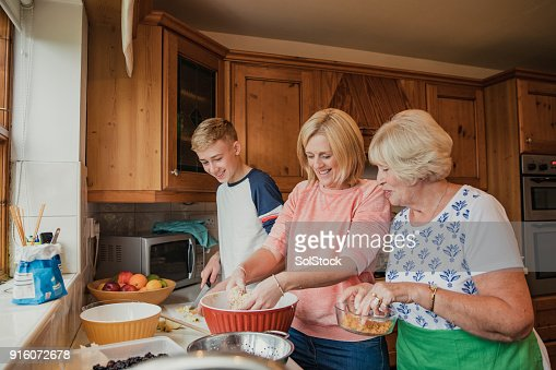 Multi-Generation Family Cooking Together