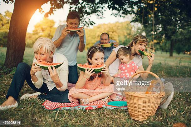 Multi-generation Family Eating Watermelon At Picnic.