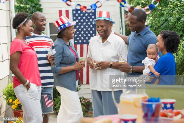 Multi-generation family enjoying Fourth of July party