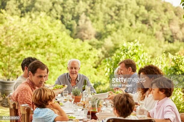 multi-generation family enjoying meal in yard - lunch imagens e fotografias de stock