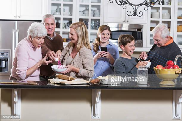 Multi-generation family in the kitchen