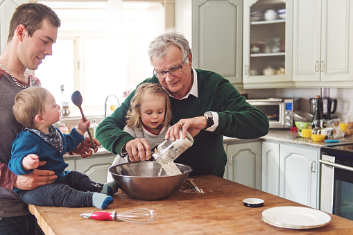 Multi-generation family spending time together for Father's day 1148000277