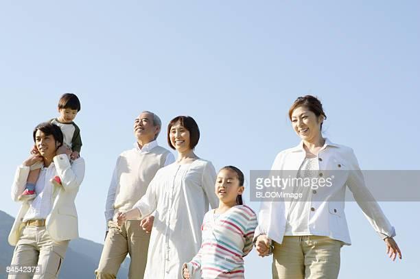 Multi-generation family taking a walk