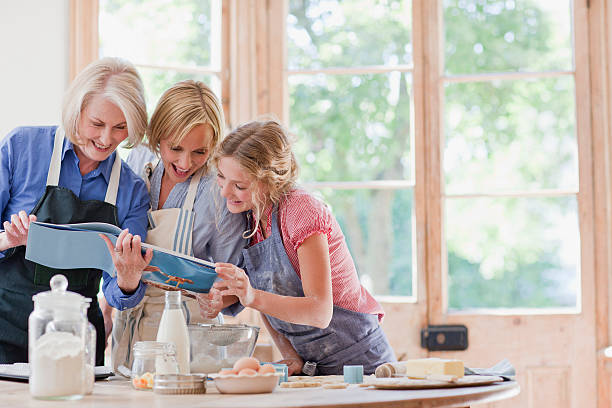 Multi-generation females looking at cookbook and baking in kitchen