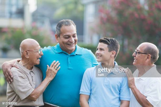 Multi-generation Hispanic family, 90 year old