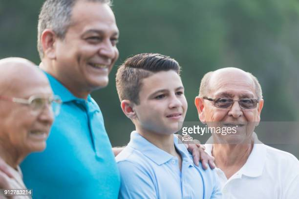 multi-generation hispanic family, 90 year old - 70 year old man stock pictures, royalty-free photos & images