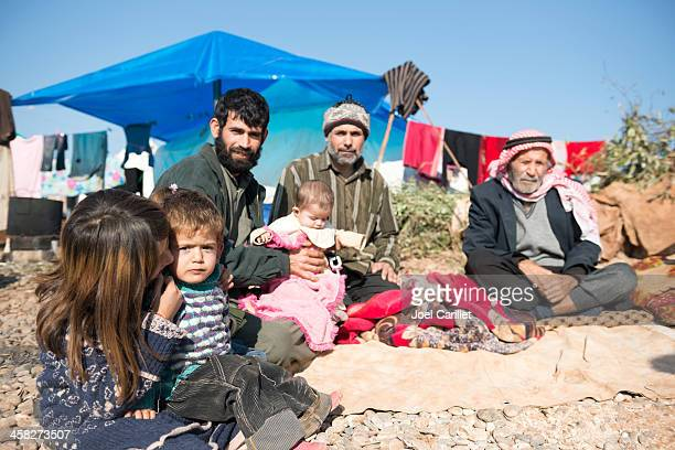 multi-generation syrian refugee family in atmeh, syria - syria stock pictures, royalty-free photos & images