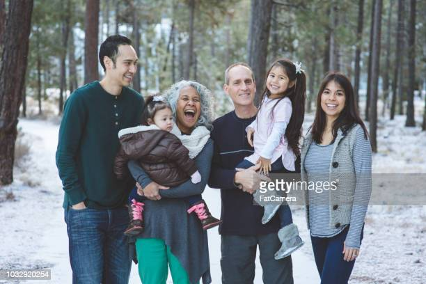 multigenerational ethnic family portrait in the snowy woods - multi generation family stock pictures, royalty-free photos & images