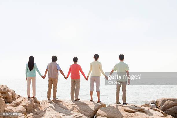Multi-generational family holding hands on rocks by the sea, rear view