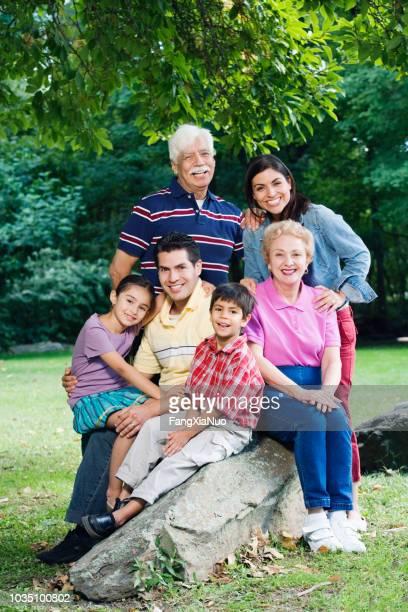 multi-geracional família hispânica, sorrindo no parque - vertical - fotografias e filmes do acervo
