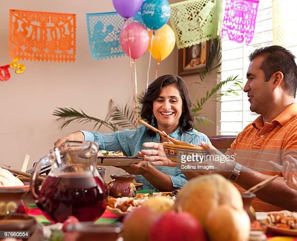 Multigenerational Mexican Family Celebrates dinner