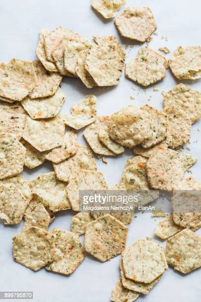 multi-grain crackers, close-up - cracker snack stock photos and pictures