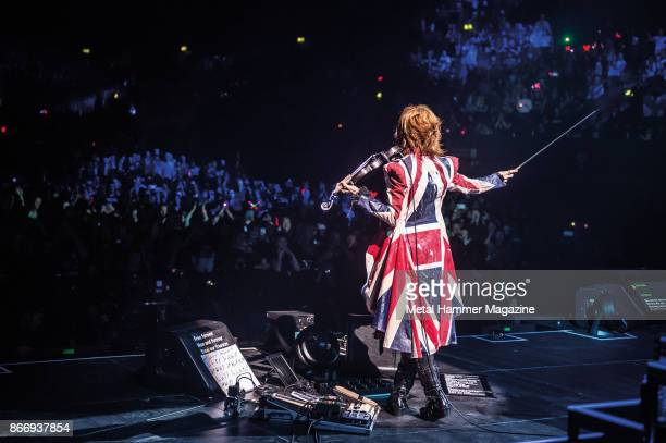 Multiinstrumentalist Yune Sugihara of Japanese glam metal group X Japan performing live on stage at the SSE Wembley Arena in London on March 4 2017