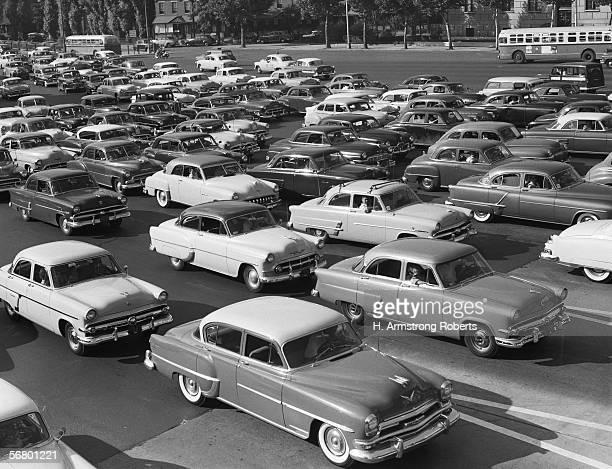 Multilane highway traffic jam
