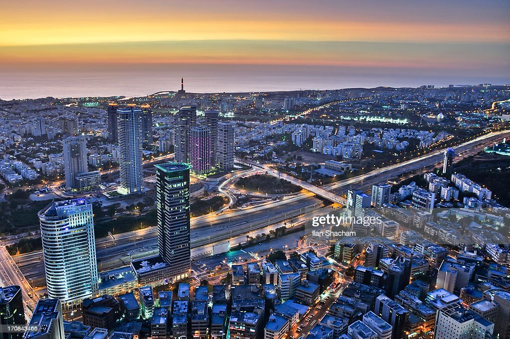 Multilayered dusk at Tel Aviv : Stock Photo