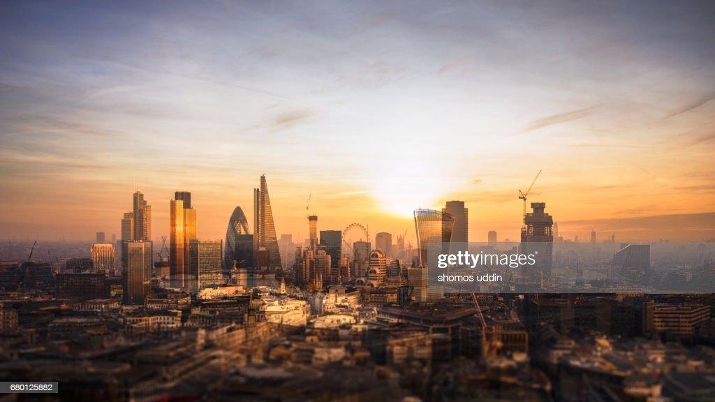 Multilayered panorama of London city skyline - aerial view : Stock Photo