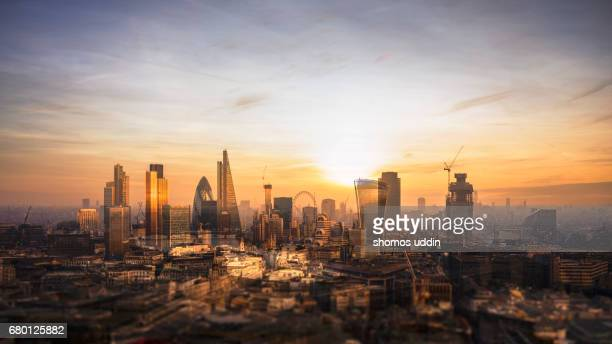 Multilayered panorama of London city skyline - aerial view