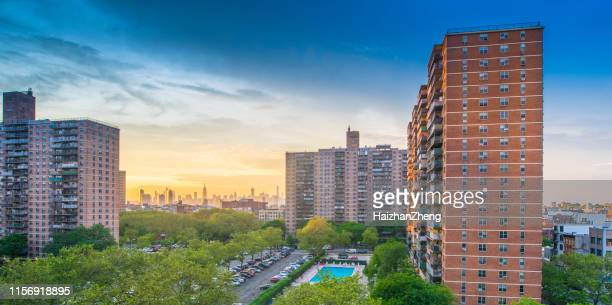 multi-level social buildings in brooklyn, new york - council flat stock pictures, royalty-free photos & images