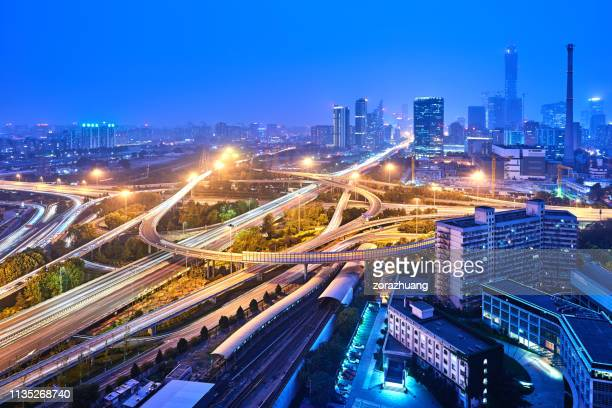 Multilevel Viaduct Busy Traffic at Night, Beijing, China