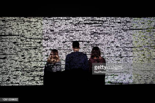 Multimedia project Data Flux [12 XGA version] by Japanese artist Ryoji Ikeda at the Onassis Cultural Center in Athens Greece on January 29 2019 The...