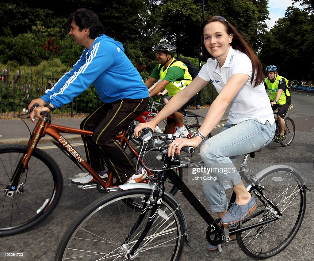 Multi-Michelin starred chef Jean-Christophe Novelli (L) and Olympic Gold Medallist Victoria Pendleton (R) join thousands of participants at Sky Ride Southampton, a free, fun. family oriented traffic-free mass participation cycling event held on July 25, 2010 in Southampton, England.