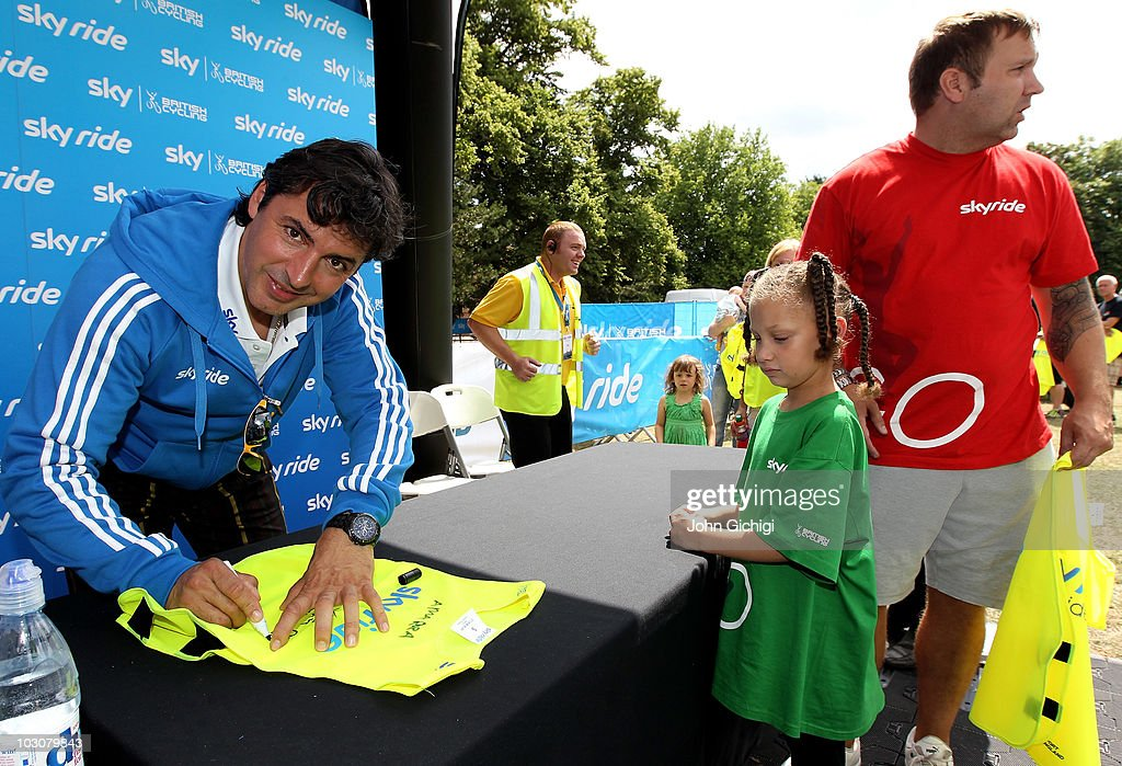 Multi-Michelin starred chef Jean-Christophe Novelli signs bibs during the Sky Ride Southampton, a free, fun. family oriented traffic-free mass participation cycling event held on July 25, 2010 in Southampton, England.