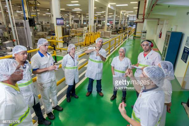 Multinational cosmetics company headquartered in France L`Oreal plant in Rio de Janeiro Brazil daily performance production meeting employees from...