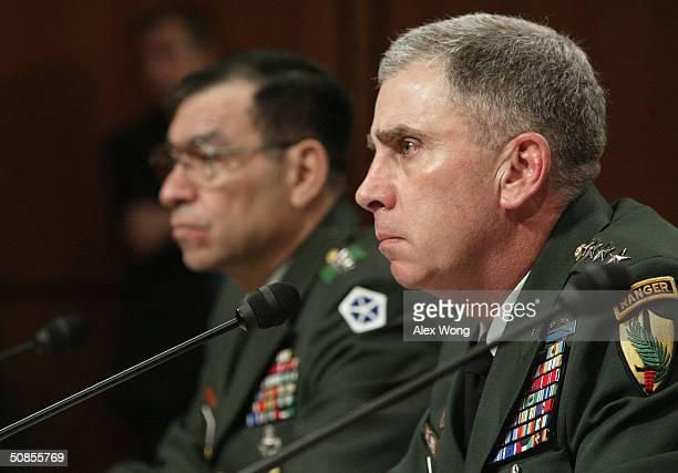 MultiNational ForceIraq Commander Lt Gen Ricardo Sanchez and US Central Command Commander Gen John Abizaid attend a hearing before the Senate Armed...