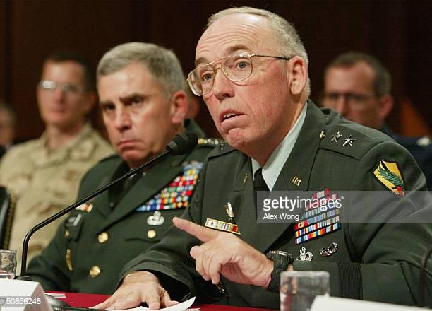 MultiNational ForceIraq Deputy Commander for detainee Operations Maj Gen Geoffrey Miller testifies as US Central Command Commander Gen John Abizaid...