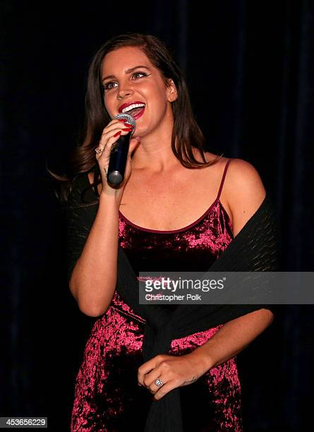 Multiplatinum artist Lana Del Rey speaks during the premiere of Tropico at Cinerama Dome at ArcLight Cinemas on December 4 2013 in Hollywood...