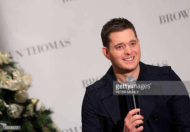 Multiplatinum Canadian singer Michael Buble speaks to the media during a brief press conference in the Thomas Brown store in Dublinon November 18...