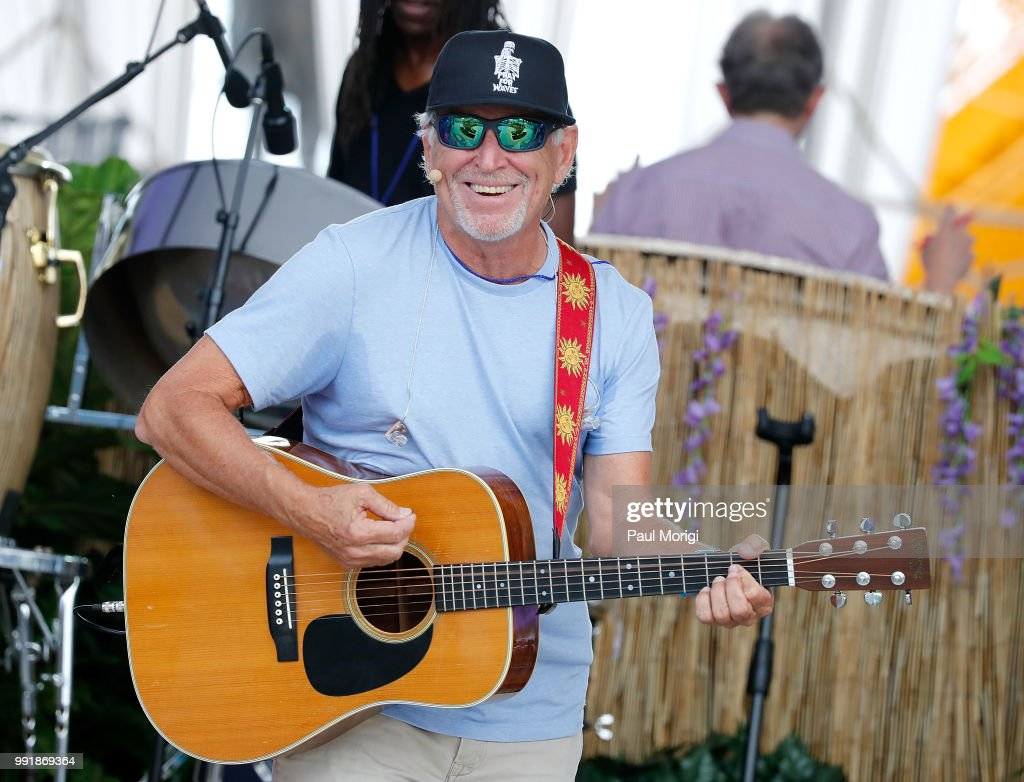 Multi-platinum selling music legend Jimmy Buffett (C) rehearses before the show at the 2018 A Capitol Fourth at the U.S. Capitol, West Lawn on July 4, 2018 in Washington, DC.