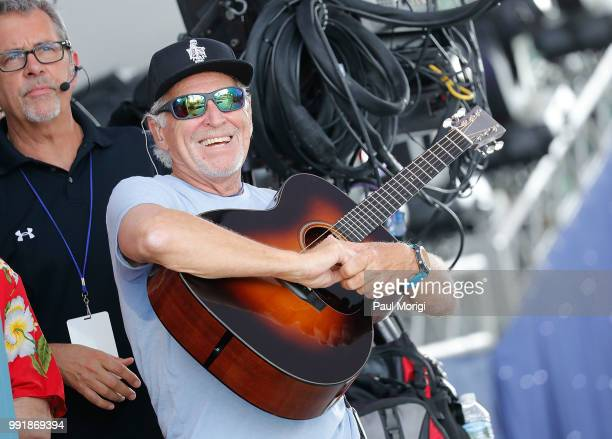 Multiplatinum selling music legend Jimmy Buffett rehearses before the show at the 2018 A Capitol Fourth at the US Capitol West Lawn on July 4 2018 in...
