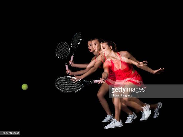 multiple action shot of woman playing tennis - racket sport stock pictures, royalty-free photos & images
