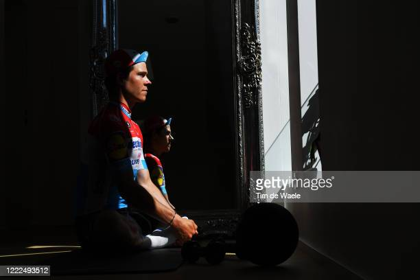 Multiple and current cycling road and time trial Champion Bob Jungels of Luxembourg and Team Deceuninck Quick-Step trains in isolation at home during...