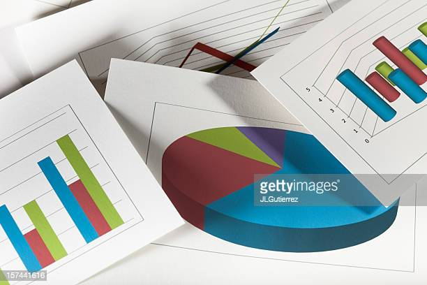 Multiple business graphs in different color