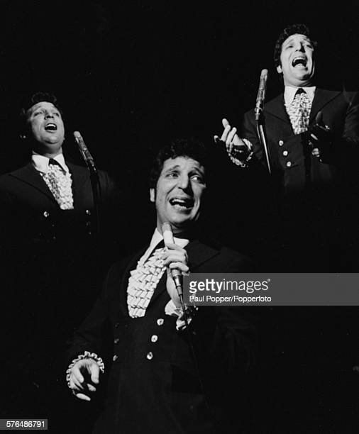 Multiple composite portraits of singer Tom Jones performing live on stage at the Talk of theTown club in London in 1967