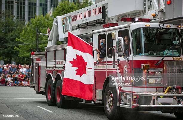 Multiple ethnic groups walk in the Canada Day Parade along Burrard Street on July 1 2016 in Vancouver British Columbia Canada Vancouver the largest...