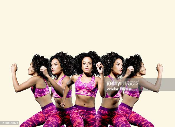 multiple exposer of a dark skinned female running - multiple image stock pictures, royalty-free photos & images