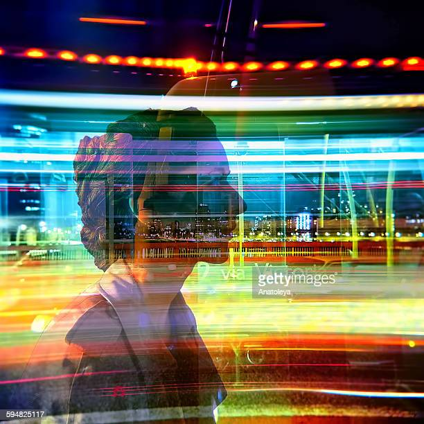 Multiple exposure - Girl and Traffic