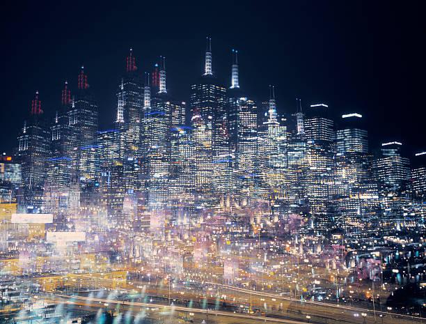 Multiple exposure image of an illuminated skyline