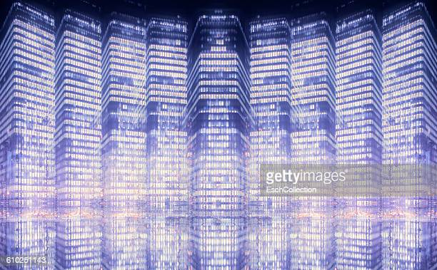 Multiple exposure image of high-rise buildings