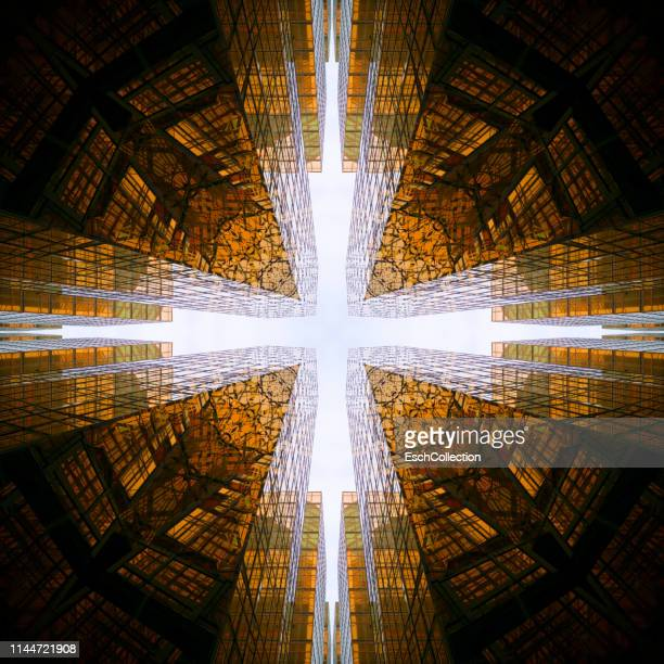 multiple exposure image of office buildings in hong kong - holy city stock pictures, royalty-free photos & images