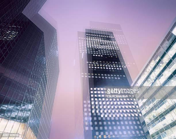 Multiple exposure image of office buildings