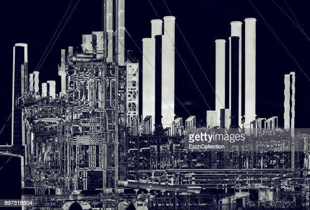 Multiple exposure image of oil refinery