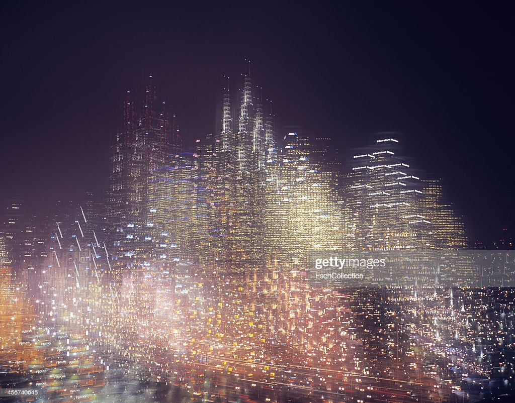 Multiple exposure image of skyline at night : Stock Photo