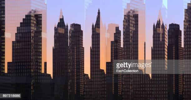 Multiple exposure image of skyline of New York