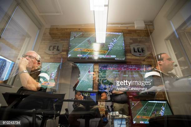 A multiple exposure inside the CFL command centre at the CFL headquarters in Toronto on August 19 2016 CAMERA